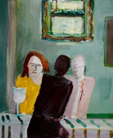 Katherine Boucher Beug, Cafe l, acrylic on paper, 20.5 x 23.5, 2016
