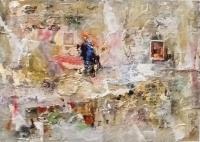 John Kingerlee, Couple, collage & oil on paper 29.5 x 41.5 cm, 2016, framed