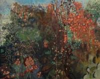 Frances Ryan, Dock and Fieldfare, oil on canvas, 80 x 100 cm, 2016