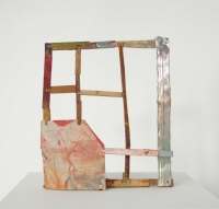 Helen O'Leary, Party on, egg oil and metal on constructed wood, 38 x 28 x 4.5 cm, 2013