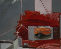 Katherine Boucher Beug, Barge, mixed media on canvas, 48 x 52 cm, 2013