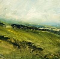Avril Lyons, Across the Fields, acrylic on paper, 34.5 x 35.5 cm, SOLD