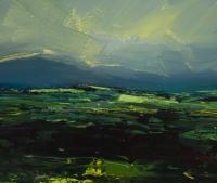 Avril Lyons, Dromara Fields, acrylic on paper, 21.5 x 25.5 cm, SOLD