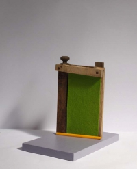 Katherine Boucher Beug, Odradek's Gate, felt, wood & found materials, 30 x 31 x 19, 2013, € 950