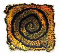 Cormac Boydell, Orange Spiral, handmade glazes on clay, 45 x 46 x 8 cm, 2010, SOLD