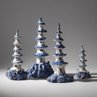 Cormac Boydel, Four Pagodas, teracotta and hand-made glazes, 38 cm h, 2008