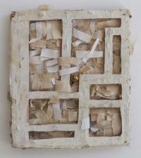 Helen O'Leary, Boxed Saint, wooden framed with linen and mixed media, 2012, €1,600