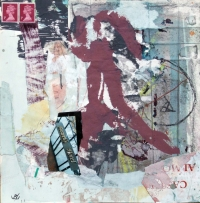 John Kingerlee, Buswells Hotel, paper collage & mixed media, 25 x 25 cm, 2011, €650