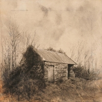 Michael Wann, a simple building, charcoal & wash on canvas, 40 x 40, 2012, SOLD
