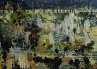 Frances Ryan, Ghost Gardens IX, oil and collage on panel, 50 x 70 cm, 2015