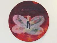 Oonagh Hurley, Roll Up, 60cm diameter, acrylic on canvas, 2015