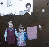 Catherine Barron, Nana watches over us, acrylic ink on sheet metal, 26 x 29 cm, 2013