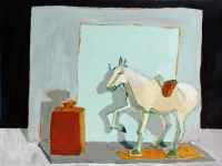 Katherine Boucher Beug, Still Life with Chinese Horse, acrylic on paper, 25 x 33 cm, €1,500