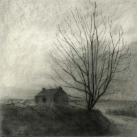 Maeve McCarthy, House & Tree, charcoal on Fabriano paper, 56 x 56 cm, 2014, € 1,100