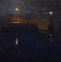 Maeve McCarthy, Pier Lights, tempera & oil on gesso panel, 30 x 30 cm, 2014, SOLD