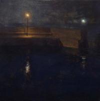 Maeve McCarthy, Pier Lights, tempera & oil on gesso panel, 30 x 30 cm, 2014, SOLD