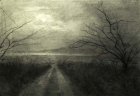 Maeve McCarthy, Road to Teer, charcoal on Fabriano paper, 70 x 100 cm, 2014, € 1,690