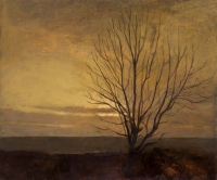 Maeve McCarthy, Sunset Tree, tempera & oil on gesso panel, 25 x 30 cm, 2014, SOLD