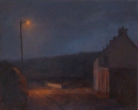 Maeve McCarthy, Night Gable, tempera & oil on gesso panel, 20 x 25, 20 x 25 cm, SOLD