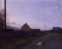 Maeve McCarthy, Through a Village, tempera & oil on gesso panel, 20 x 25 cm,2014, SOLD