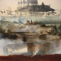 Siobhan McDonald, Island, mixed media on canvas, 100 x 100, 2008, SOLD