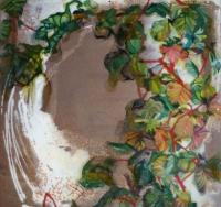 Nicki Cheevers, Wallflowers iii, enamel & oil on steel, 61 x 61 cm, 2013, €1,400