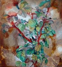 Nicki Cheevers, Wallflowers i, enamel & oil on steel, 61 x 61 cm, 2013, €1,400