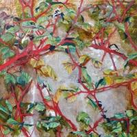 Nicki Cheevers, Wallflowers ii, enamel & oil on steel, 61 x 61 cm, 2013, €1,400