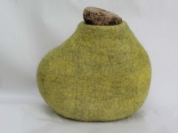 Una Ni She, Corked Bottle, wool felt & cork, 30 x 20.5 x 30 cm, 2013, SOLD