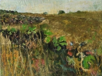 Frances Ryan, Comber Fields 4, oil on board, 30 x 50 cm, 2005, SOLD