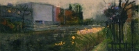 Frances Ryan, Grand Canal, oil and mixed media on board, 20 x 50 cm, 2007, SOLD