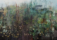 Frances Ryan, Field, 70 x 100 cm, oil & collage on panel, 2013, SOLD