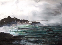 Imelda Kilbane, Seaspray, mixed media on paper, 55.8 x 76.2cm, 2014