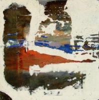 Leonard Sheil, Danube Tributary 2, mixed media on board, 30 x 30 cm, 2007, SOLD