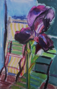 Regine Bartsch, Black Iris & Deck Chairs, 56 x 38 cm, mixed media on paper, 2012, €1,200