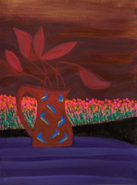 Jane O'Malley, Still Life with Lava & Geranium Fields, gouache, acrylic and collage, 40.5 x 30.5 cm, 2010, €975