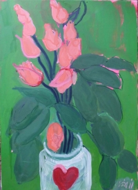 Suzy O'Mullane, Heart Jar & Love Roses, oil on canvas, 70 x 50 cm, 2012, €3,800
