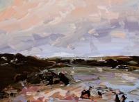 Avril Lyons, Connemara Sunset, acrylic on canvas panel, 2015