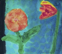 William Crozier, Untitled (Two Flowers), watercolour, 16.5 x 19 cms, c. 1995
