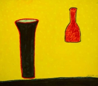 William Crozier, Still Life on Yellow Background, watercolour, gouache, acrylic and oil pastel, 2006