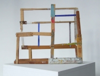 Helen O'Leary, The measure of wrong, egg oil and metal on constructed wood, 35 x 41 x 12 cm, 2013