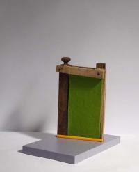 Katherine Boucher Beug, Odradek's Gate, felt, wood & found materials, 30 x 31 x 19, 2013, € 950