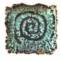 Cormac Boydell, Green Spiral, handmade glazes on clay, 45 x 46 cm, 2010, SOLD