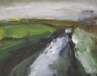 Mary Canty, Winter River, oil on board, 24 x 30 cm,2014