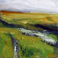 Mary Canty, An Sridhan-The Stream, oil on canvas, 20 x 20 cm, 2013, SOLD
