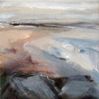 Mary Canty, Beach, oil on canvas, 24 x 24 cm, 2014, SOLD