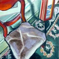 Regine Bartsch, Chair Time II, pastel chalk & acrylic on canvas, 40 x 40 cm, 2013, €1,400