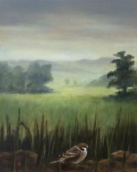 Gail Boyagian, Sparrow & the Meadow, oil on panel, 25.25 x 20.5 cm, 2013, €1,100