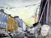 Jacqueline Stanley, Poet and Place Series, J M outside Hackets, Schull , watercolour on paper, 32 x 41 cm, 2012, €600