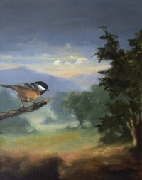 Gail Boyagian, Tit & the Hills, oil on panel, 25.25 x 20.5 cm, 2013, €1,100